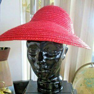 Vtg Straw Hat Visor Pink Bow Wide Brim Boho